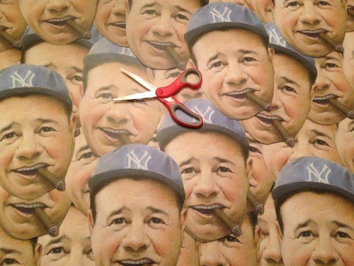 Look at all the Babes: Babe Ruth masks being prepared. - COURTESY TOM DERRY