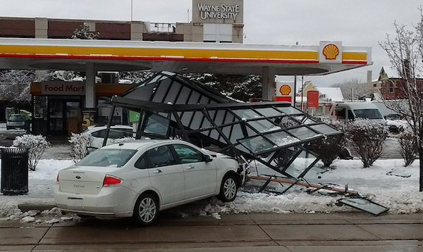 A shattered bus shelter in front of Shell Gas, 4661 Woodward Ave., Detroit. - PHOTO BY MICHAEL JACKMAN