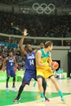 Former MSU basketball player and current Golden State Warrior Draymond Green playing defense during the 2016 Olympics.