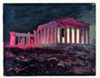 """""""Parthenon at Night, Athens,"""" 1868, Frederic Church, oil and black chalk on paperboard."""