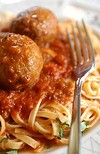 Linguine with meatballs from Vince's in Detroit.