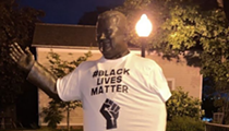 Someone put a Black Lives Matter shirt on the statue of Orville Hubbard, Dearborn's segregationist mayor
