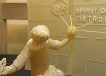 Russian artist makes 'Spirit of Detroit' sculpture out of pasta