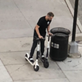 What scooter-hogging wizardry is this? Man seen riding two Bird scooters at once
