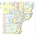 Gerrymandering at work — from left: Metro Detroit's State House Districts, State Senate Districts, and United States Congressional Districts.
