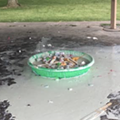 Roseville park says it was vandalized after telling a group to take their bounce house down