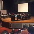 Judge Rhodes meets with Detroit Board of Education, leaves before public comments