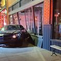 A Dodge Charger crashed into Detroit venue Trinosophes