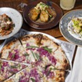 Clockwise, from left: mafalde, Jerusalum artichokes, romanesco, and agro dolce pizza.