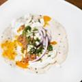 Greek taco with cinnamon lamb, feta, cucumber-garlic yogurt, dill, and Bulgarian feta.