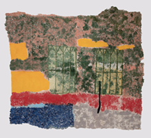 COURTESY OF GALLERY - I can see through this, 2018, Japanese handmade paper, acrylic paint, thread - 52 x 74.5 inches