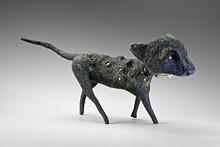 """TIM THAYER - """"Panther,"""" felt, wood, cabochons, and stones, 2011"""