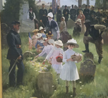 "COURTESY OF OAKLAND UNIVERSITY ART GALLERY - ""Decoration Day,"" 1885, Carl Hirschberg, 1854-1923. Oil on canvas."