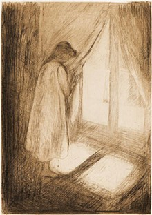 COURTESY OF JOHN SZOKE EDITIONS, NEW YORK - Edvard Munch, Norwegian, 1863–1944,  Piken ved vinduet (The Girl at the Window), 1894,  Drypoint on paper, 16 x 12 1/2 inches