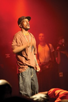PHOTO BY FLOWIZM. - Rakim performing at the Nokia Theatre in New York City in 2008.