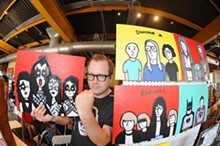 N CARTOONIST JASON GIBNER AND HIS WORKS. COURTESY PHOTO.