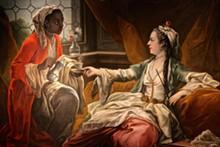 "PHOTO BY SARAH ROSE SHARP - Detail from ""Madame de Pompadour as a Sultana (La Sultane)."""