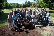 Volunteers at Lafayette Park in southwest Detroit on Neighborhood Beautification Day 2014