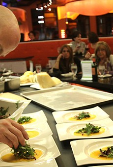 Zazios' executive chef Matt Schellig cooks at the Chef's Table for a group of diners