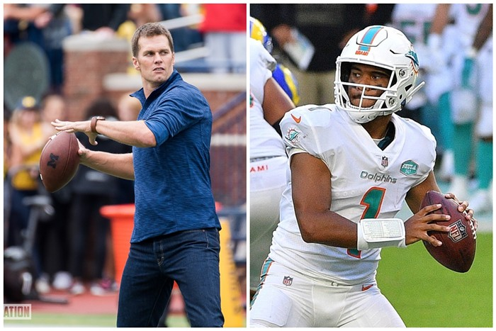 Tom Brady or Tua Tagovailoa? - PHOTOS BY MAIZE & BLUE NATION/WIKIMEDIA COMMONS AND MARK BROWN/GETTY