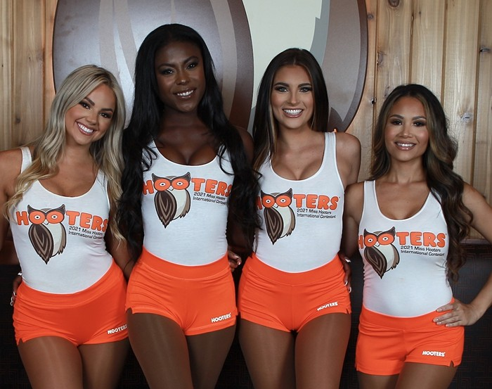 Hooters employees (from left) Sloan Miavitz, Unique Shantell Burch, Gianna Tulio, and Jenise Lebron) will compete in this year's 24th annual Miss Hooters International pageant. - PHOTO COURTESY OF SOUTH FLORIDA HOOTERS
