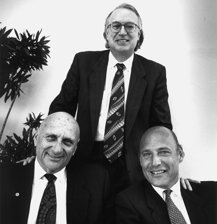 Roy Black (standing), Albert Krieger, and Martin Weinberg, three members of Falcon and Magluta's defense team. - NEW TIMES PHOTO BY STEVE SATTERWHITE