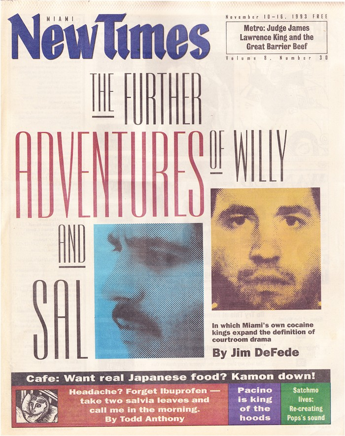 The cover of the November 10, 1993, issue of Miami New Times - MIAMI NEW TIMES PHOTO