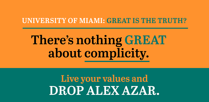 A mockup of the Accountable.US billboard to be driven around UM's campus in Coral Gables. - IMAGE COURTESY OF ACCOUNTABLE.US
