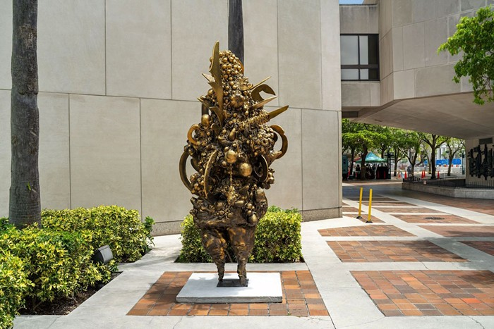 Charo Oquet's mixed-media sculpture is meant to be a meeting point at the Plaza at Government Center in downtown Miami. - PHOTO COURTESY OF ZACHARY BALBER