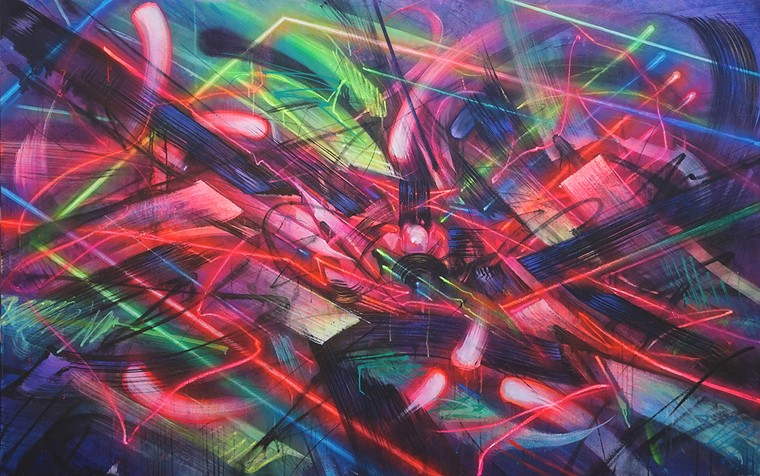 Saber's Emergence is one of several paintings and drawings on view at the Museum of Graffiti. - PHOTO COURTESY OF SABER/MUSEUM OF GRAFFITI