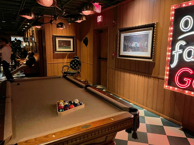 Vintage pool table at the Pool Hall - PHOTO BY LAINE DOSS