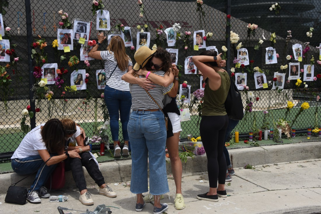 A memorial for those missing at Champlain Towers South.