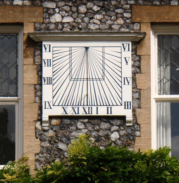 "10:15 a.m. in Norwich, UK -- except you have to adjust for the ""equation of time"" if it's not around March 21 or September 21. Don't forget daylight saving! - BARRY EVANS"