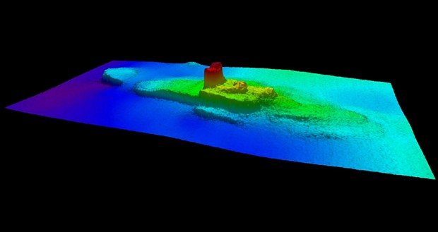2013 multi-beam sonar profile view of the - shipwreck SS City of Chester. - IMAGE COURTESY THE NOAA OFFICE OF COAST SURVEY NRT6