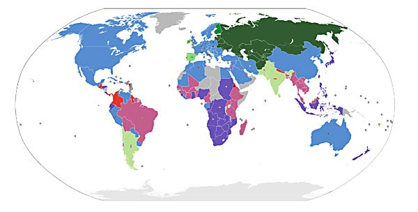"""60 percent of the world's railways use Stephenson's 4 ft. 8 1/2 in. gauge (blue). Major exceptions are the former USSR (4 ft. 11 7/8 in., dark green); southern Africa's 3 ft. 6 in. """"Cape"""" gauge (purple) and meter gauge (pink). (GNU license)"""