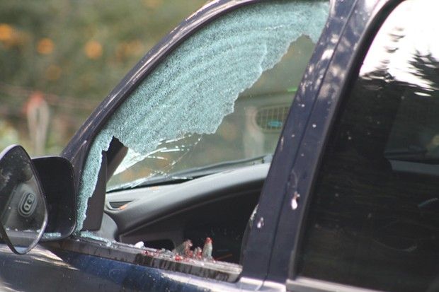 A deputy-involved shooting in McKinleyville on Dec. 15 left a 25-year-old suspect with a gunshot wound to the hand and this SUV pocked with bullet holes. - RHEANNON OKEY