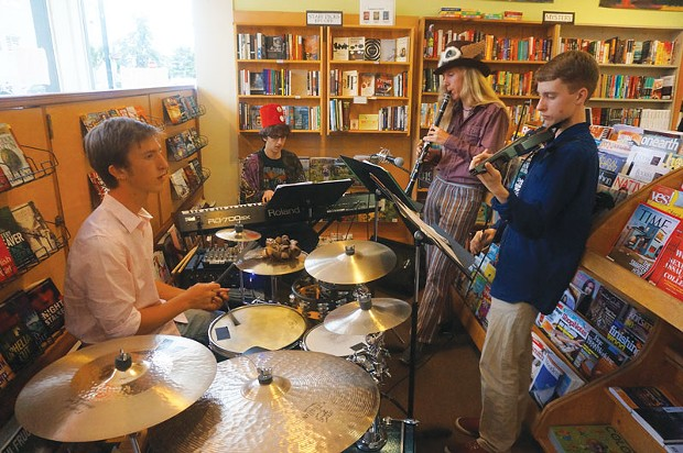 A group of Arcata High school and Northcoast Preparatory Academy STUDENTS called Klezmer Encounters (of the Fez Kind) entertains at Northtown Books during Arts! Arcata on Friday, July 11. - PHOTO BY BOB DORAN