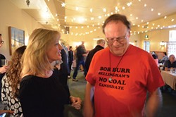 PHOTO BY GRANT SCOTT-GOFORTH. - A visitor from Washington talks to Virginia Bass after stumbling across her campaign party at the Sea Grill.