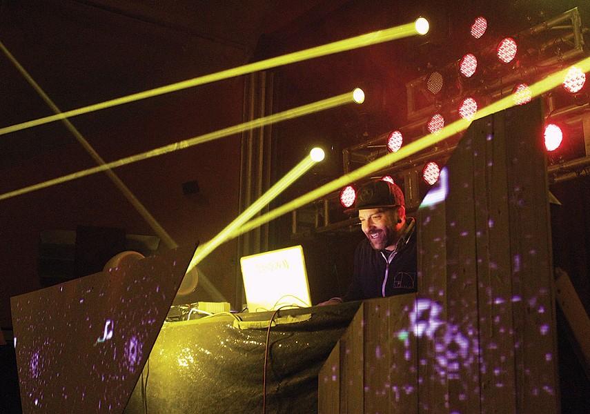 Aaron Holstein aka VibeSquaD, an electro-musician from Colorado, plays bass heavy crunkadelic tunes to help mark the sixth anniversary of World Famous Productions Saturday night at Arcata Theatre Lounge. - PHOTOS BY BOB DORAN.