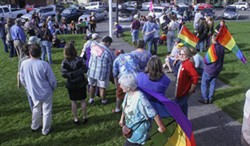 About 70 people gathered on the Arcata Plaza to celebrate the Supreme Court ruling on DOMA and Proposition 8. - KIM HODGES