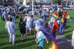 PHOTO BY KIMBERLY HODGES - About 70 people gathered on the Arcata Plaza to celebrate the Supreme Court rulings on DOMA and Proposition 8.