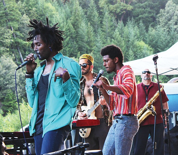 Afrolicious lays down some fine Afro-funk at the Mateel Community Center's 38th annual Summer Arts and Music Festival at Benbow Lake State Recreation Area on Sunday, June 1. - PHOTO BY BOB DORAN