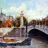 "Painting in Paris ""Alexander III Bridge"" by Micki Dyson-Flatmo."