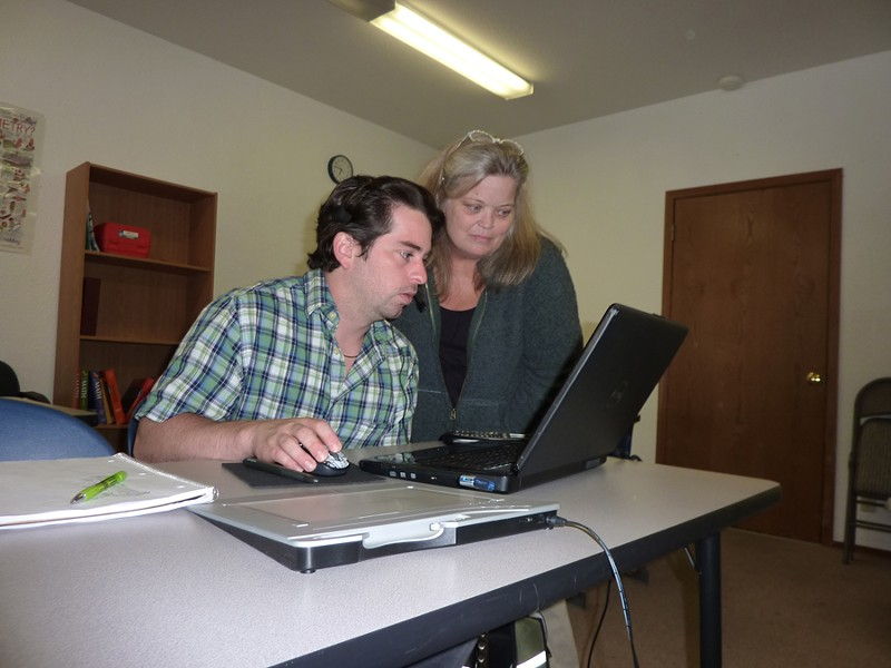 "Algebra teacher John ""JJ"" Stott and Pacwest program coordinator Teresa Creech. - PHOTO BY RYAN BURNS"