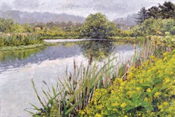 """Allen Pond Reflections,"" oil on wood."