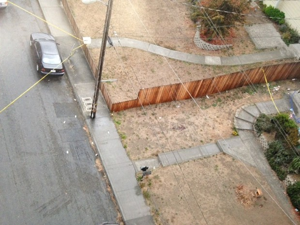 An aerial police photograph of the shooting scene on Allard Avenue. A dark blood stain on the dry lawn marks were McClain fell. - THADEUS GREENSON