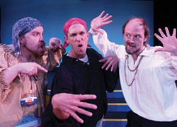 PHOTO COURTESY OF NCRT. - Anders Carlson, Victor Howard and Gavin Lyall inThe Complete Works of William Shakespeare.