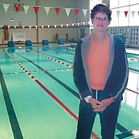 Pool Stories Aquatics instructor Jan Carroll at the Eureka High pool. Photo by Heidi Walters.