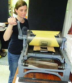 Artist and former Journal graphic designer Lynn Jones brings her vintage press to Eureka Books for demonstrations. (40)