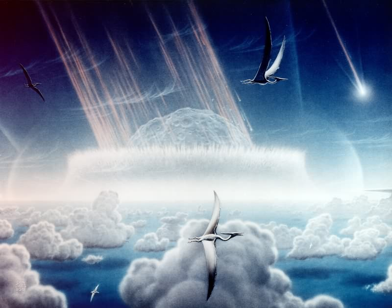 Artist Don Davis' impression of catastrophic impact (complete with pterodactyls) thought to have caused the extinction of the dinosaurs 65 million years ago. - COURTESY OF NASA